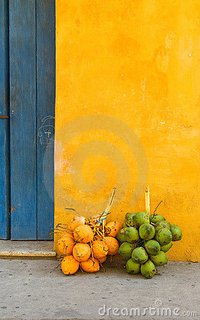 Free Coconuts In The Street Of Cartagena, Colombia Stock Photography - 12724592