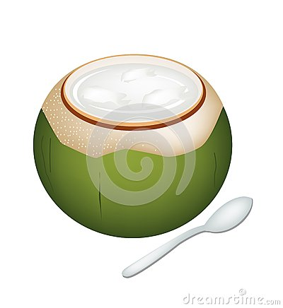 Coconuts Jelly in Coconut Shell on White Background
