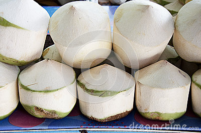 Coconuts with juice inside.