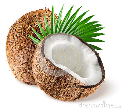 Coconuts with leaf on white background
