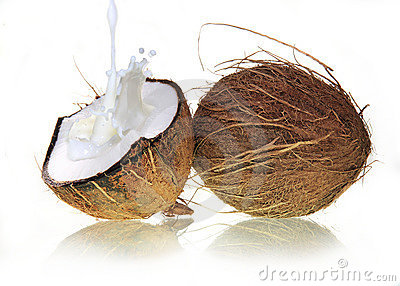 Coconuts with milk splash