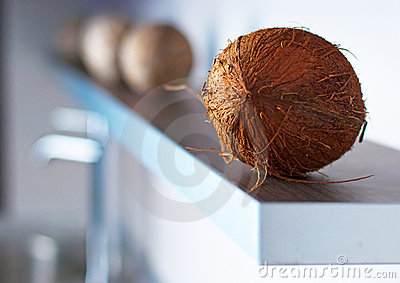 Coconuts on modern white kitchen