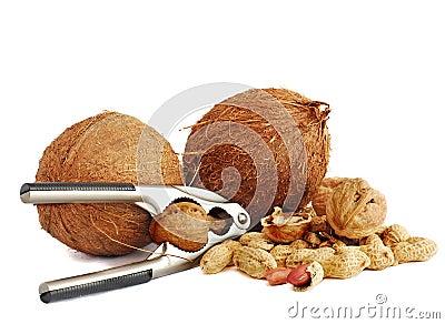 Coconuts,peanuts and walnuts