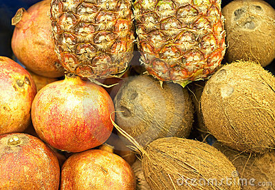 Coconuts, pineapples and pomegranates