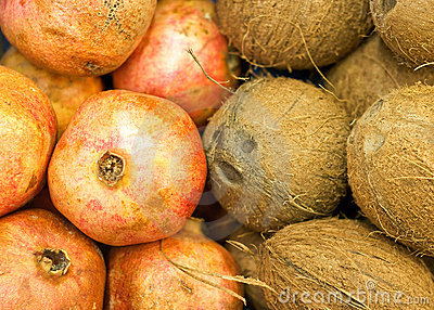 Coconuts and pomegranates