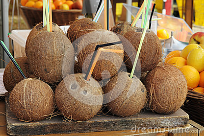 Coconuts on a tray