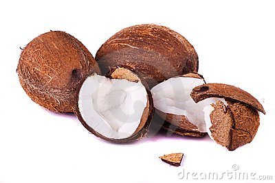 Coconuts on white
