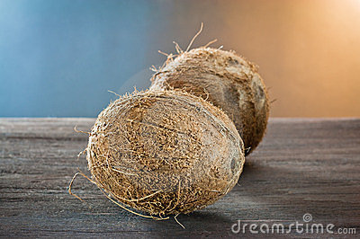 Coconuts on wood