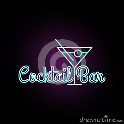 Free Coctail Bar Neon Logo Design. Isolated On Black Background. Retro/vintage Neon Sign. Design Element For Your Ad, Signs, Posters Royalty Free Stock Photos - 78168408
