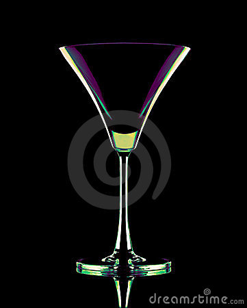 Coctail glass in neon colors