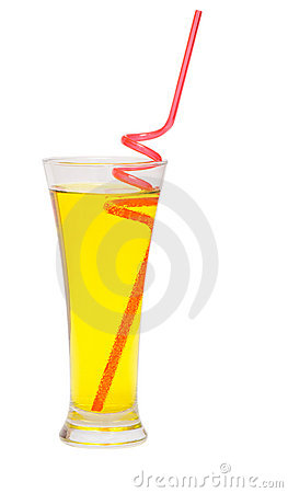 Coctail with red straw