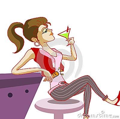 Coctel de consumición de la muchacha en la ilustración del club de noche