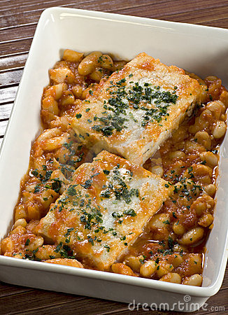 Cod and beans in sauce