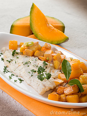 Cod fillet with  pumkin