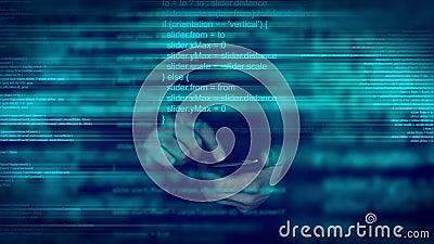 Code de programmation de manuscrit animé abstrait sur le dispositif intelligent mobile de téléphone banque de vidéos