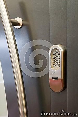 Code lock on a door stock image image 15862861 for Front door lock with code