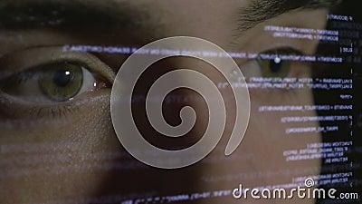 Codificación del informático en la exhibición olográfica futurista almacen de metraje de vídeo