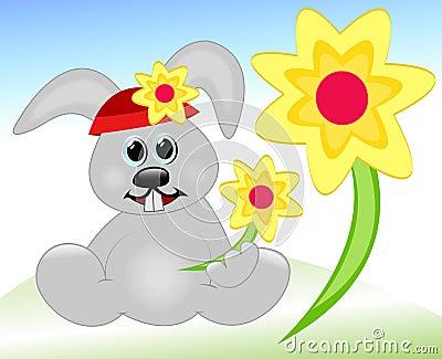 Coelho com flores da mola