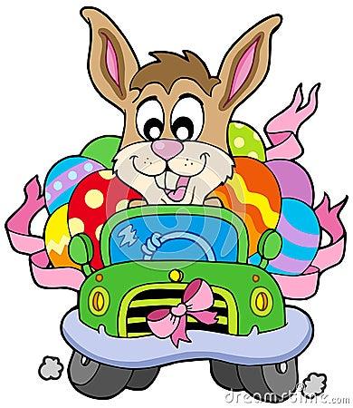 Coelho de Easter que conduz o carro