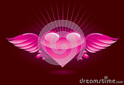 Coeur avec des ailes