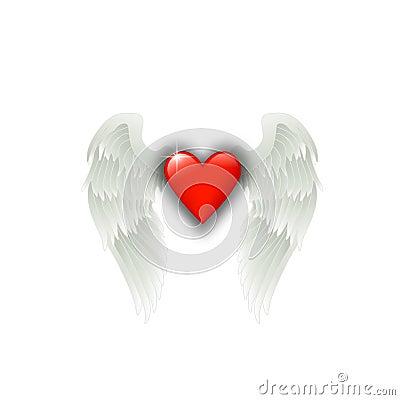 Coeur avec des ailes d 39 ange photo stock image 13134860 - Dessin de coeur avec des ailes ...