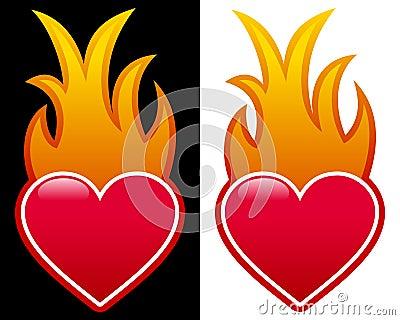 Coeur avec des flammes