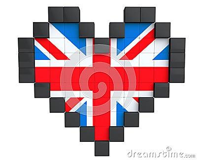 Coeur de pixel comme drapeau du royaume uni photographie stock image 30451792 - Dessiner le drapeau anglais ...