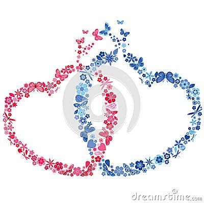 Coeur deux avec des fleurs et des papillons image libre de droits image 37 - Coeur avec des fleurs ...