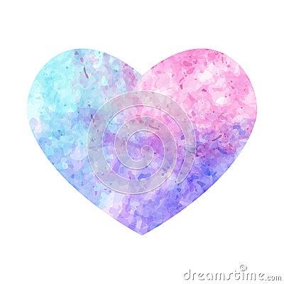 Coeur En Pastel D Aquarelle Sur Le Fond Blanc Illustration