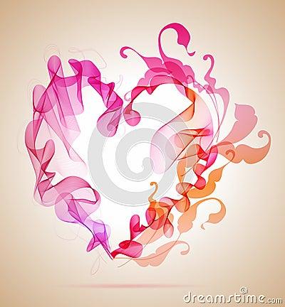 Coeur rose et rouge abstrait