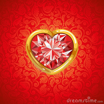 Coeur rouge dans la trame d or