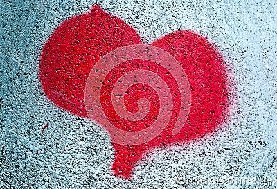 Coeur rouge peint