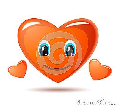 Coeur souriant. Graphisme de vecteur