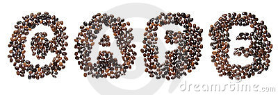 Coffe beans used to spell the word cafe