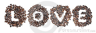 Coffe beans used to spell the word love