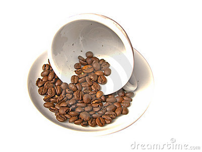 Coffe cup with coffee grains