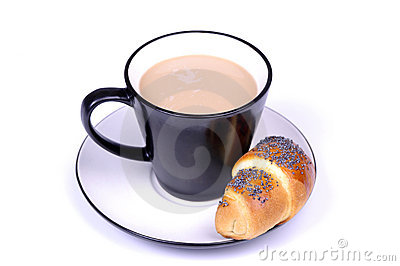 Coffe with milk and croissant