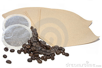 Coffe pads, filter ands beans