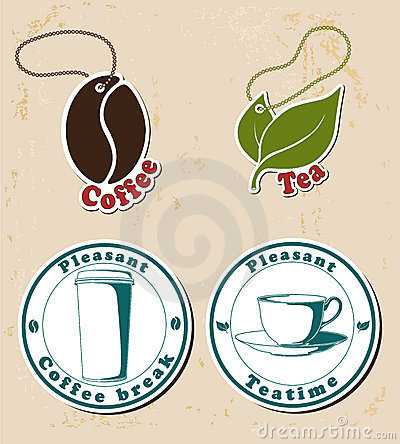 Coffe and tea stamps and tags set