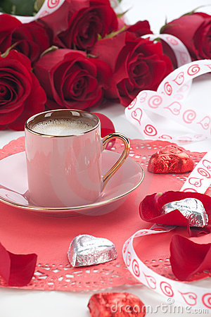 Free Coffee And Red Roses Stock Photos - 23212263