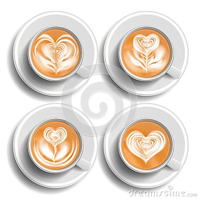 Free Coffee Art Cup Set Vector. Herat. Top View. Hot Cappuchino Coffee. Fast Food Cup Beverage. White Mug. Realistic Isolated Stock Photos - 113724493