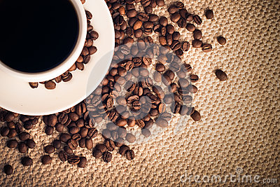Coffee Background with a Cup & Roasted Beans