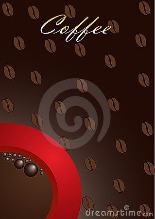 Coffee background with red cup