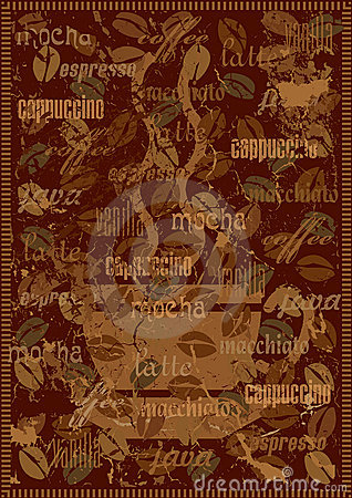 Coffee background with various sorts of coffee