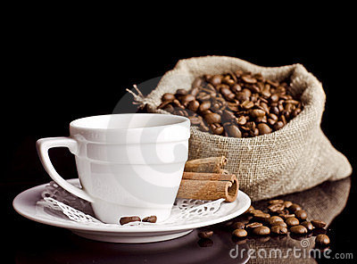Coffee background and white cup