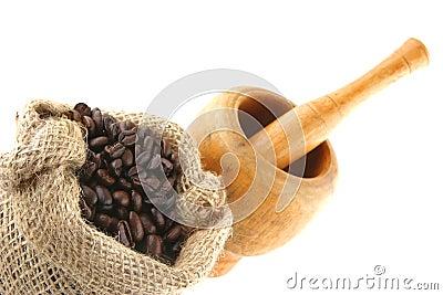 Coffee bag full of beans