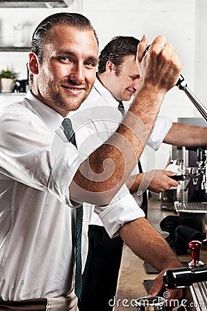 Coffee barista at work