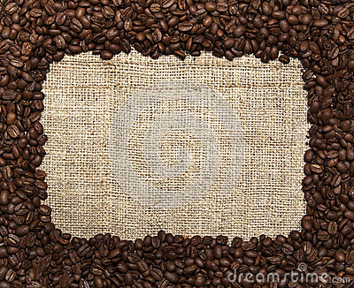 Coffee Bean Border with Burlap