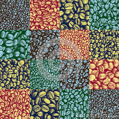 Coffee bean checkers tiled pattern