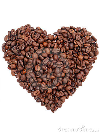 Coffee bean heart shape